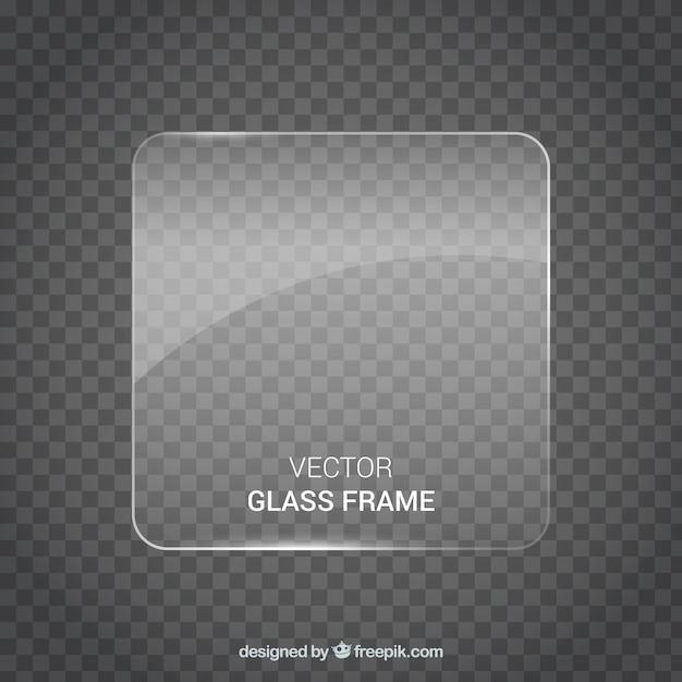 Marco de cristal de forma cuadrada en estilo realista vector gratuito