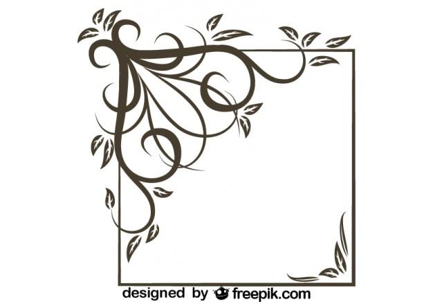 Marco cuadrado asimétrico con remolinos de diseño elegante ...