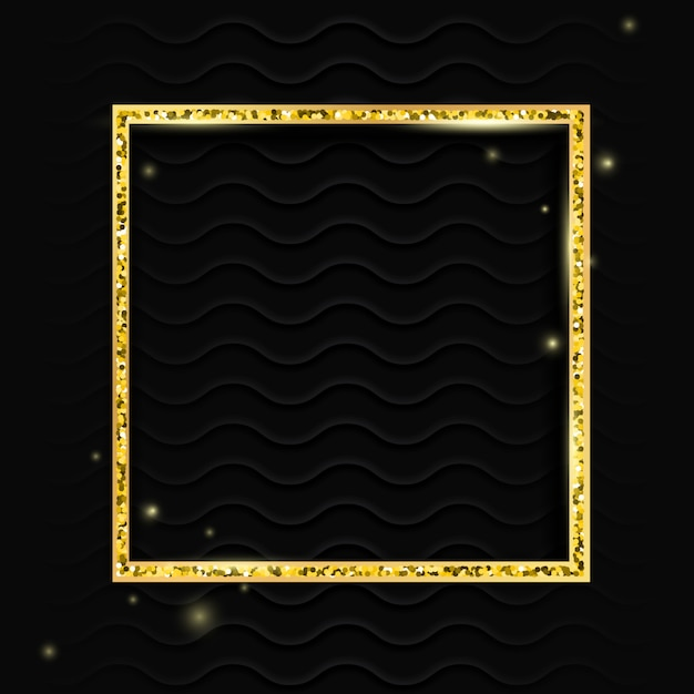Marco cuadrado dorado Vector Premium