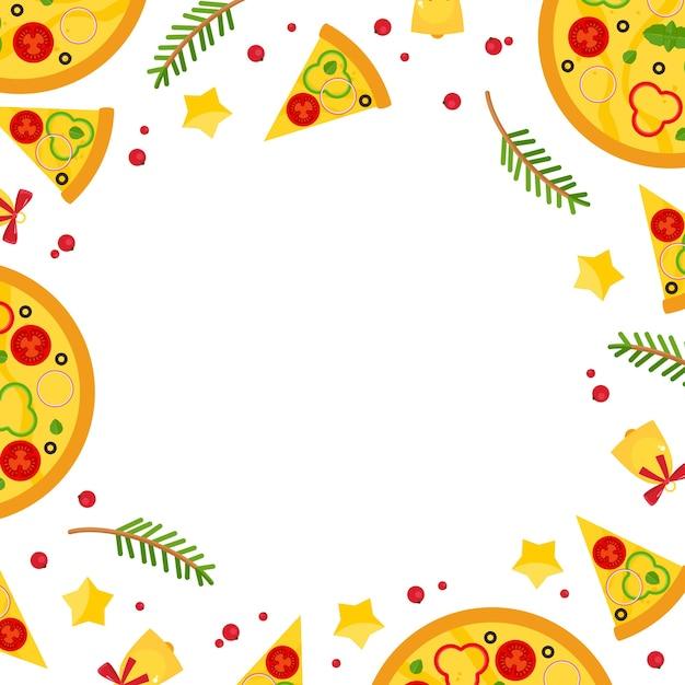 Marco cuadrado de navidad y año nuevo con pizza. vector gratuito