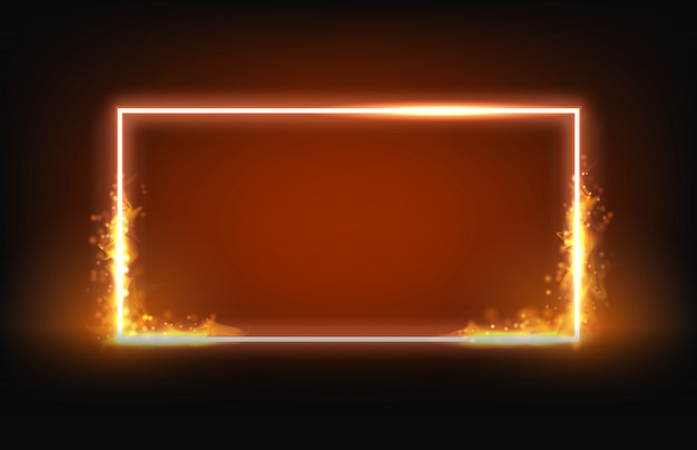 Marco cuadrado de neón brillante con elemento fuego y humo Vector Premium