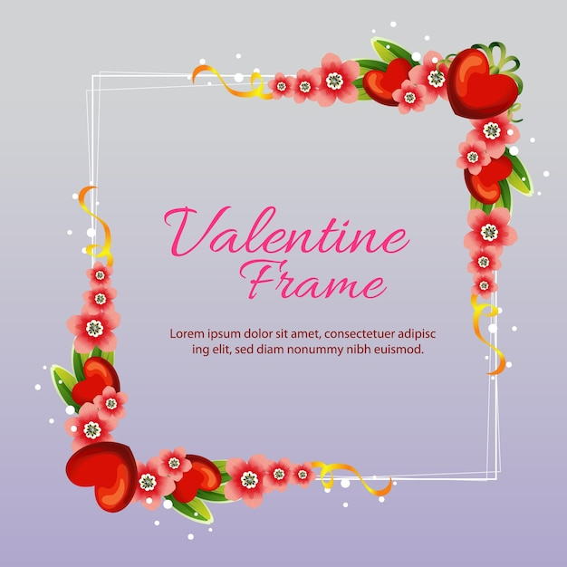 Marco de amor de san valentín con flor | Descargar Vectores Premium