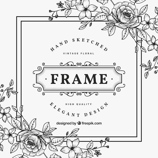Marco de flores blanco y negro vintage | Descargar Vectores Premium