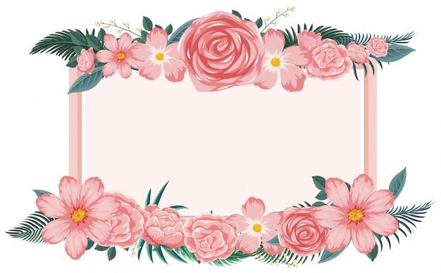 marco de flores con flores rosadas descargar vectores premium