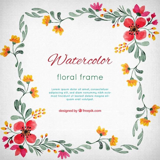 Marco de flores de acuarela | Descargar Vectores gratis