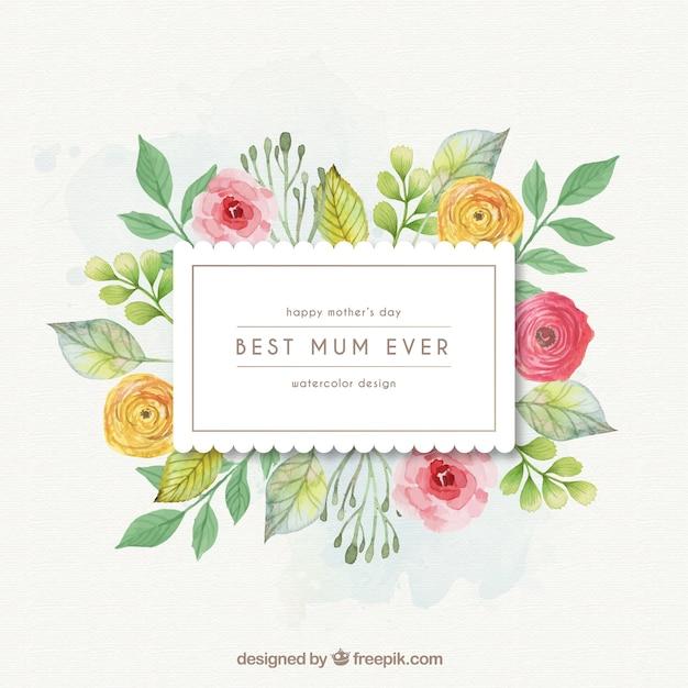 Marco de flores de la mejor mamá del mundo | Descargar Vectores Premium