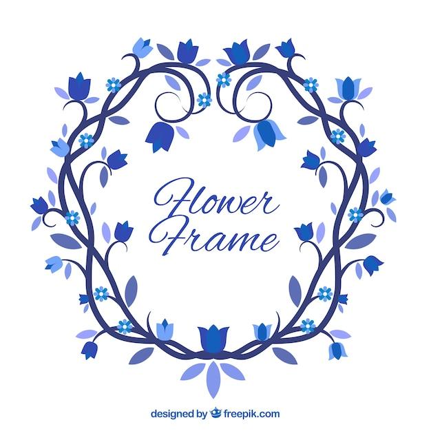Marco de flores en tonos azules | Descargar Vectores gratis