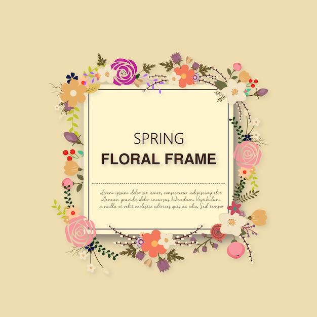 Marco de flores primaveral | Descargar Vectores gratis