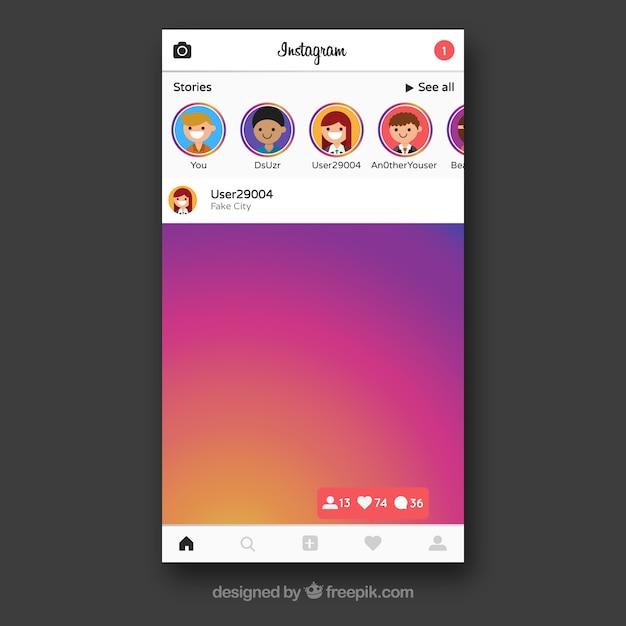Marco de instagram con contactos | Descargar Vectores gratis