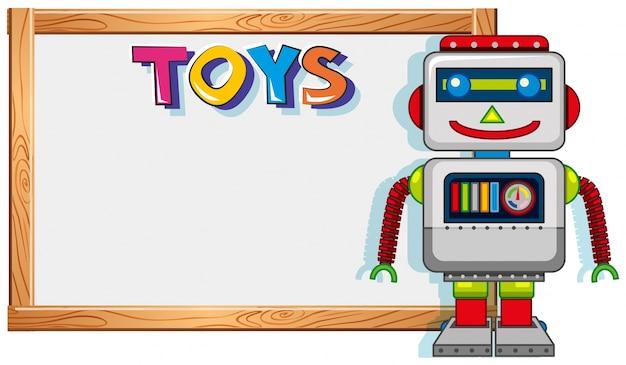 Marco De Madera Con Robot De Juguete