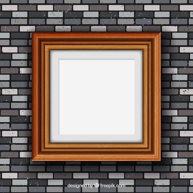 Marco de madera en pared de ladrillo descargar vectores - Marcos fotos madera ...