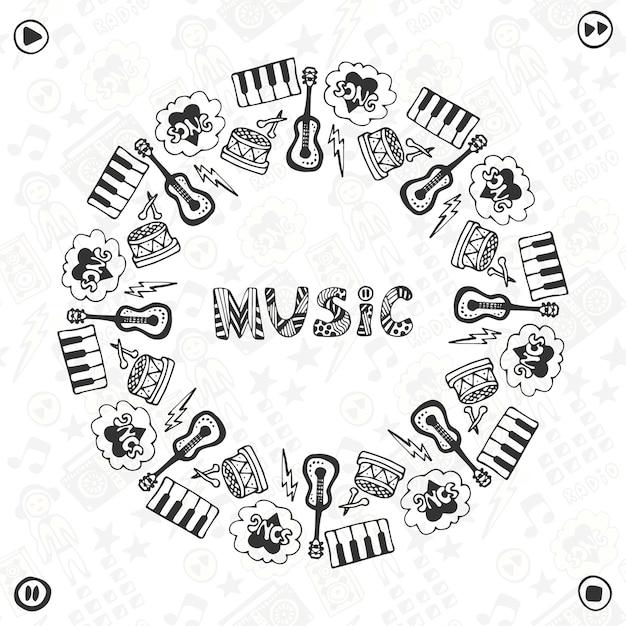 Marco de música dibujado a mano. iconos de dibujo musical. plantilla ...