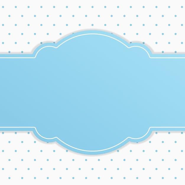 Marco de texto de cinta azul con fondo blanco pequeño lunares ...
