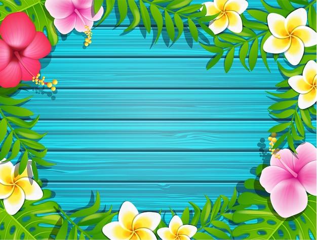Marco de verano sobre fondo de madera. | Descargar Vectores Premium