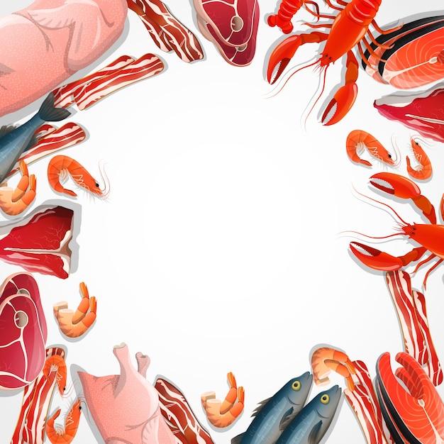 Marco decorativo de carne y mariscos vector gratuito