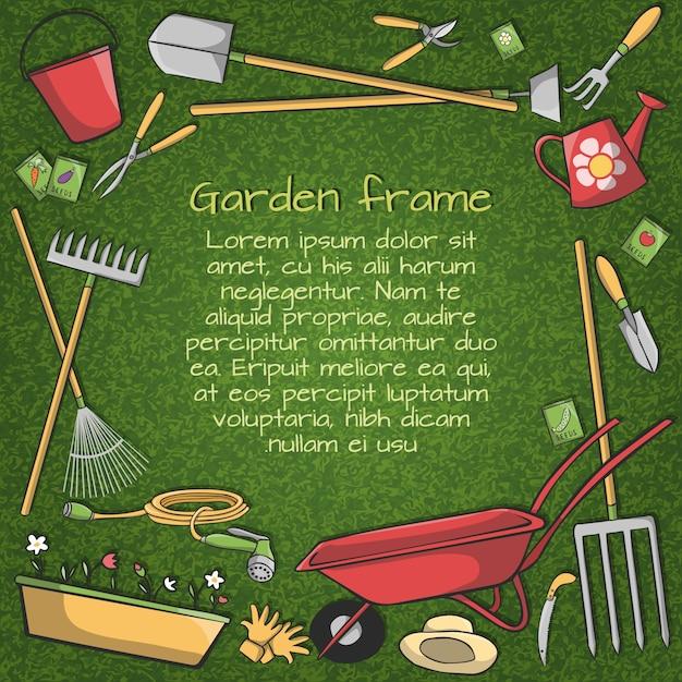 Marco decorativo de accesorios de jard n instrumentos y for Accesorios de jardin
