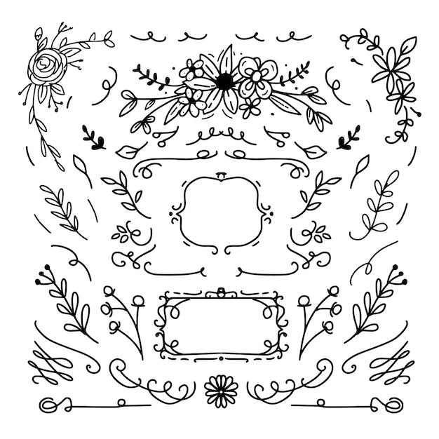 Marco decorativo floral y diseño de adornos. Vector Premium