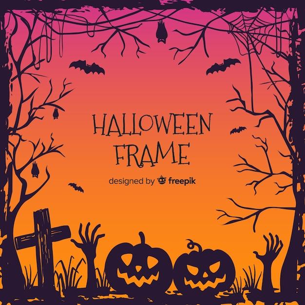 Marco decorativo de halloween dibujado a mano vector gratuito