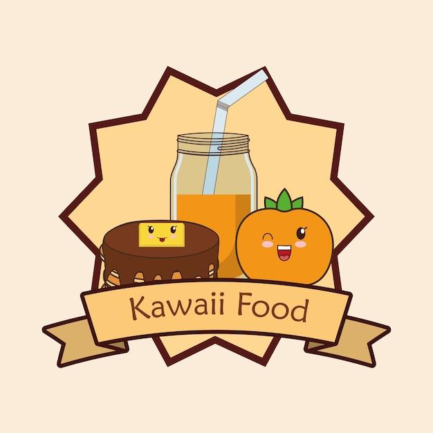 Marco decorativo y cinta con comida kawaii | Descargar Vectores Premium