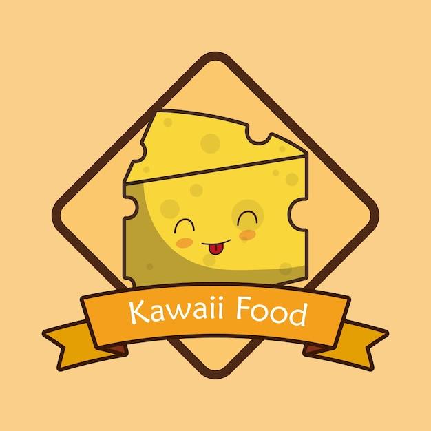 Marco decorativo y cinta con queso kawaii | Descargar Vectores Premium