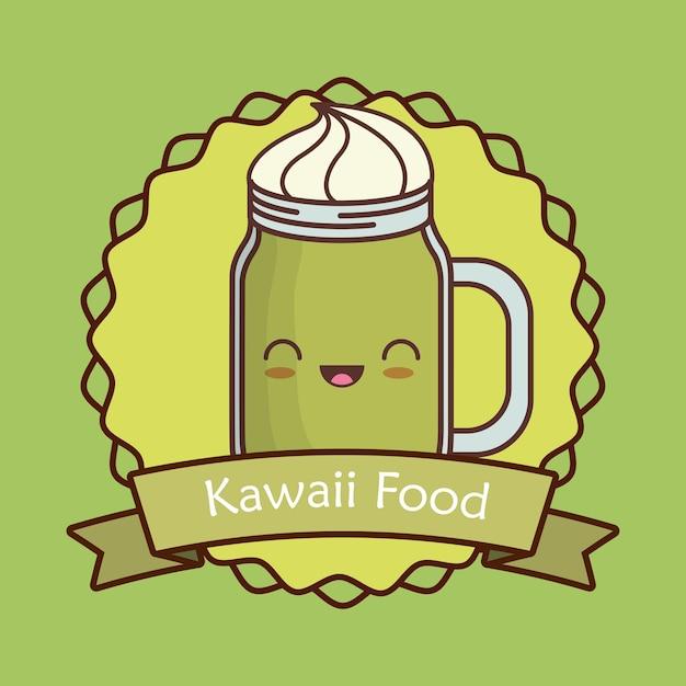 Marco decorativo y cinta con tarro de licuado kawaii | Descargar ...