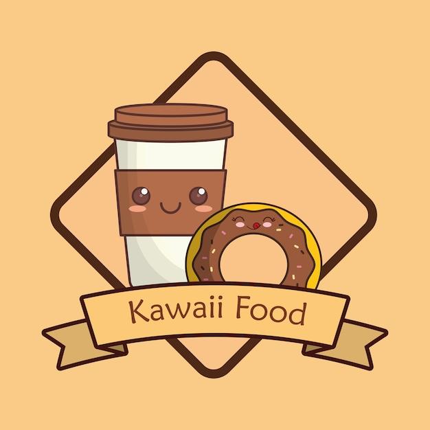Marco decorativo y cinta con taza de café kawaii | Descargar ...