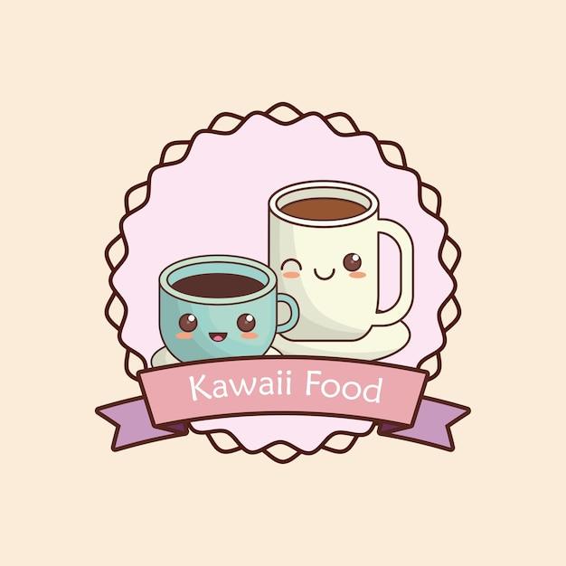 Marco decorativo y cinta con tazas de café kawaii | Descargar ...