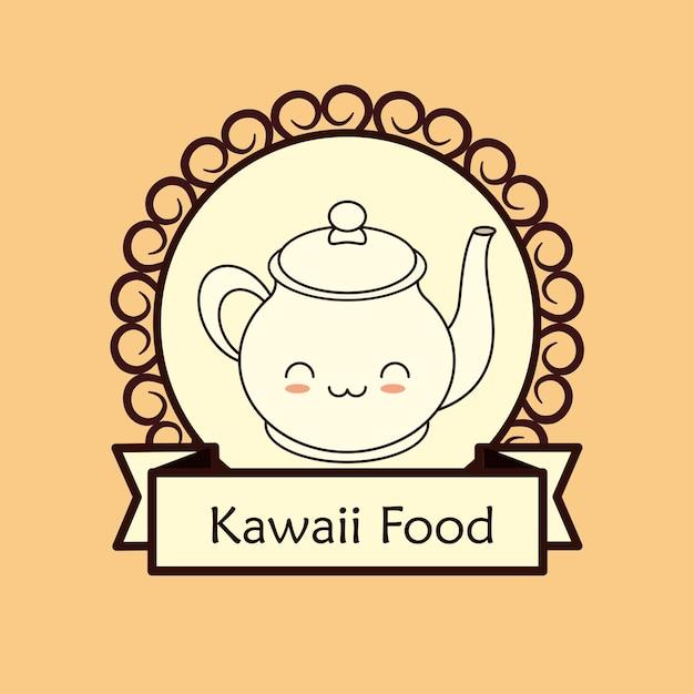 Marco decorativo y cinta con tetera kawaii | Descargar Vectores Premium