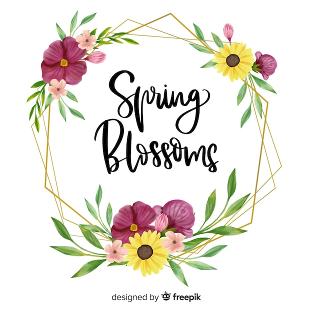Marco con diseño floral y cita de flores de primavera vector gratuito