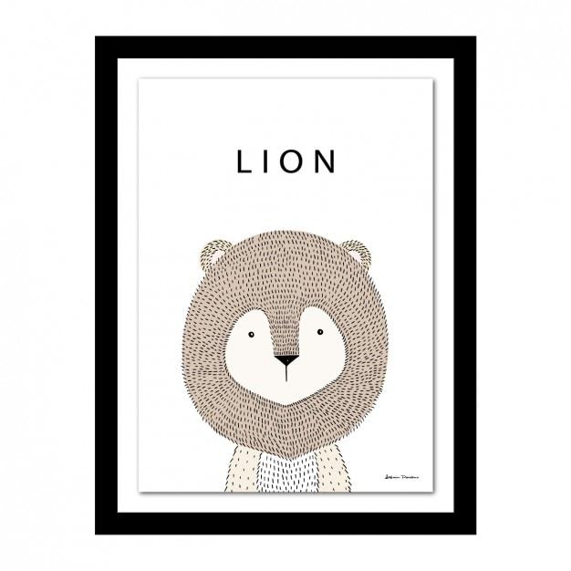 Marco con diseño de león vector gratuito