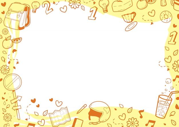 Marco de doodle naranja sobre blanco Vector Premium