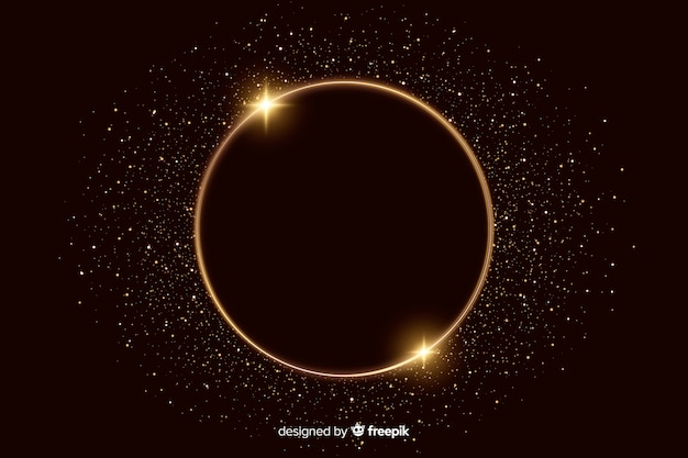 Marco dorado brillante sobre fondo oscuro vector gratuito