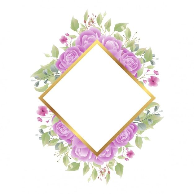 Marco Dorado Con Decoraciones Rosas Para Invitaciones De