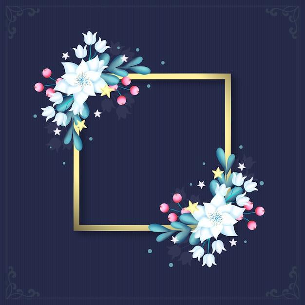 Marco dorado con flores de invierno vector gratuito