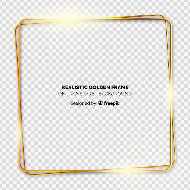 Marco dorado realista sobre fondo transparente vector gratuito