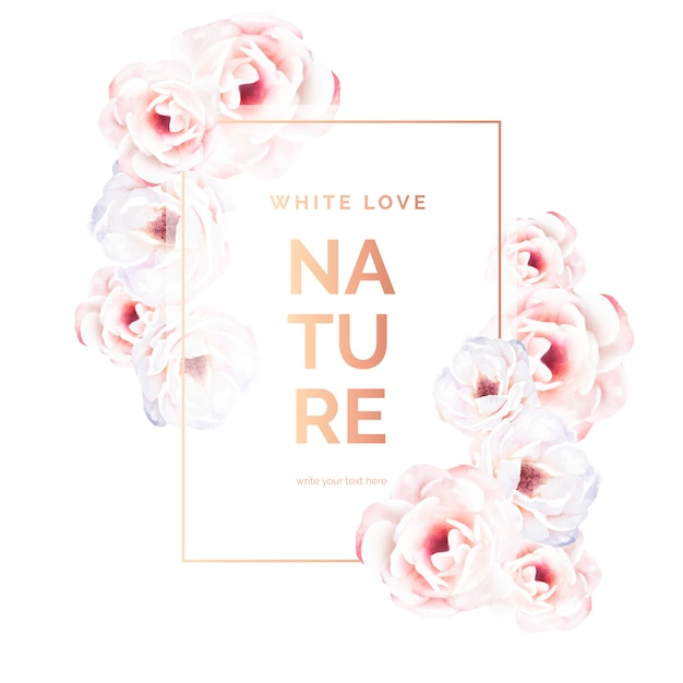 Marco dorado romántico con flores blancas vector gratuito
