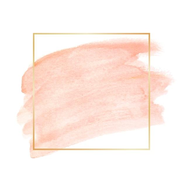Marco dorado simple con mancha de acuarela vector gratuito