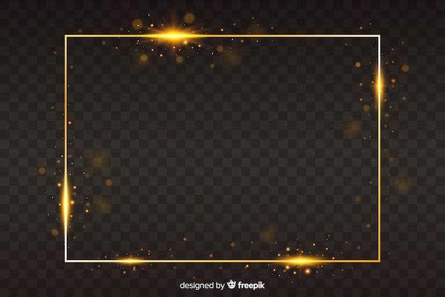 Marco dorado sobre fondo transparente vector gratuito
