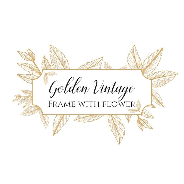 Marco dorado vintage con flor Vector Premium