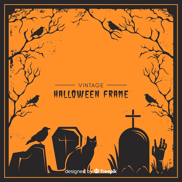 Marco espeluznante de halloween con estilo vintage vector gratuito