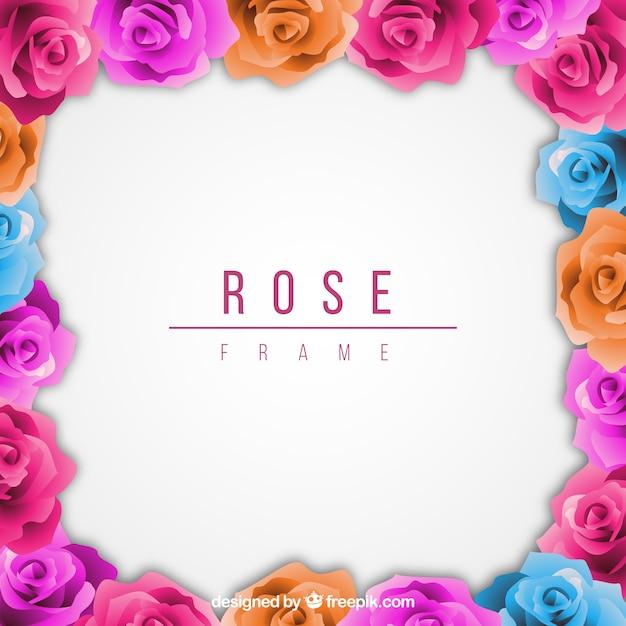 Marco Fantástico De Rosas De Colores Descargar Vectores Gratis
