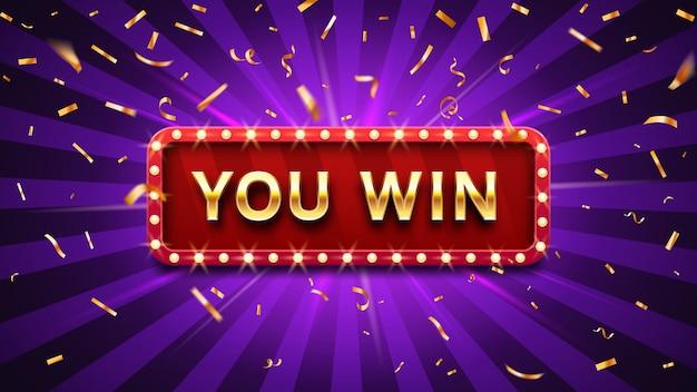 Marco de felicitaciones de ganador, signo de felicitación de oro victoria felicitando y ilustración de vector de confeti de oro ganador Vector Premium