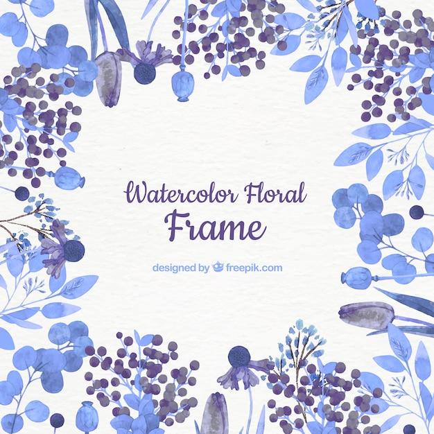 Marco Floral En Acuarela Con Flores Azules Descargar Vectores Gratis