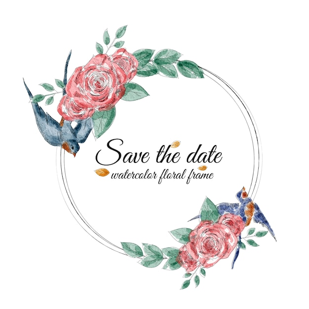 Marco floral acuarela con golondrinas y rosas. Vector Premium