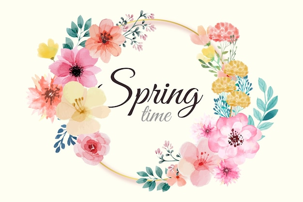 Marco floral acuarela primavera con flores rosas vector gratuito