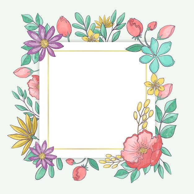 Marco floral acuarela primavera vector gratuito