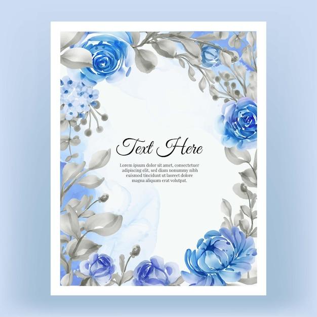 Marco floral acuarela vintage rosa rosa y violeta hermoso marco floral con elegante flor azul Vector Premium