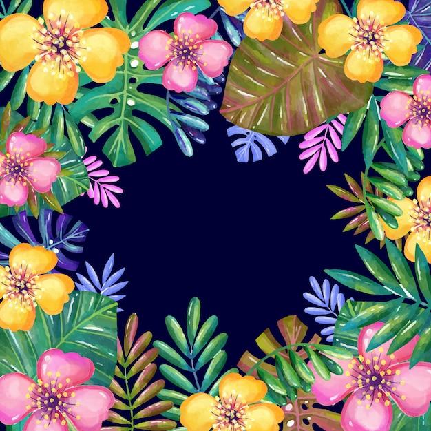 Marco floral de acuarela vector gratuito