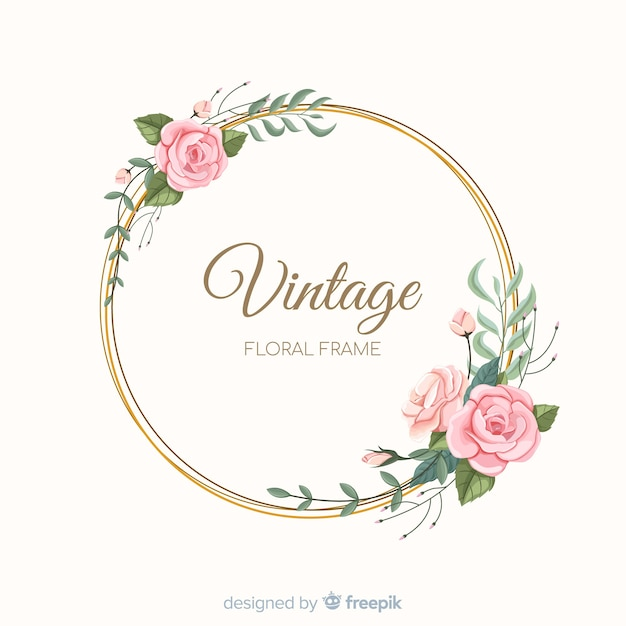 Marco floral adorable con diseño vintage vector gratuito