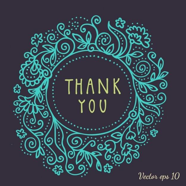 Marco floral azul para tarjeta de agradecimiento Vector Gratis